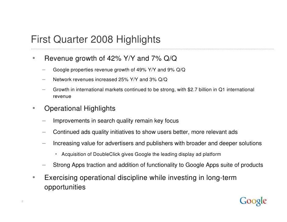 Google 2008 Q1 Earnings Presentation Slide 2