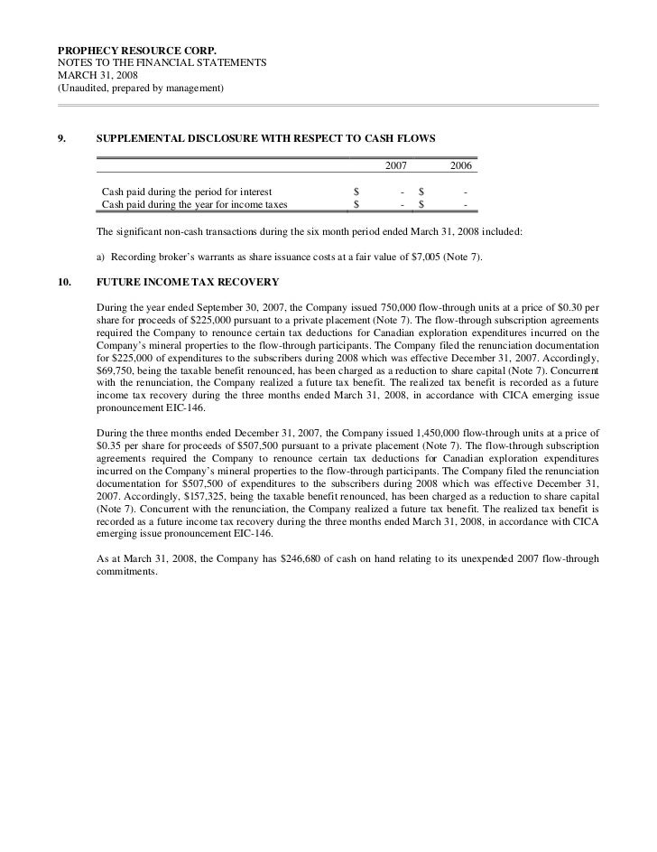 PROPHECY RESOURCE CORP.NOTES TO THE FINANCIAL STATEMENTSMARCH 31, 2008(Unaudited, prepared by management)9.    SUPPLEMENTA...
