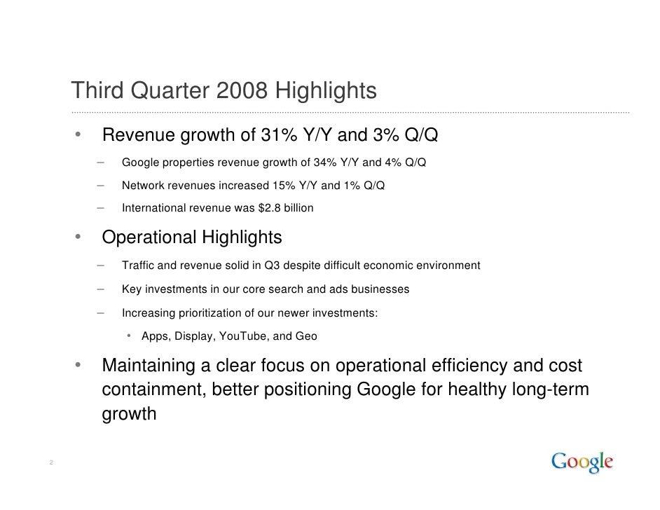 Google Q3 2008 Earnings Slides Slide 2