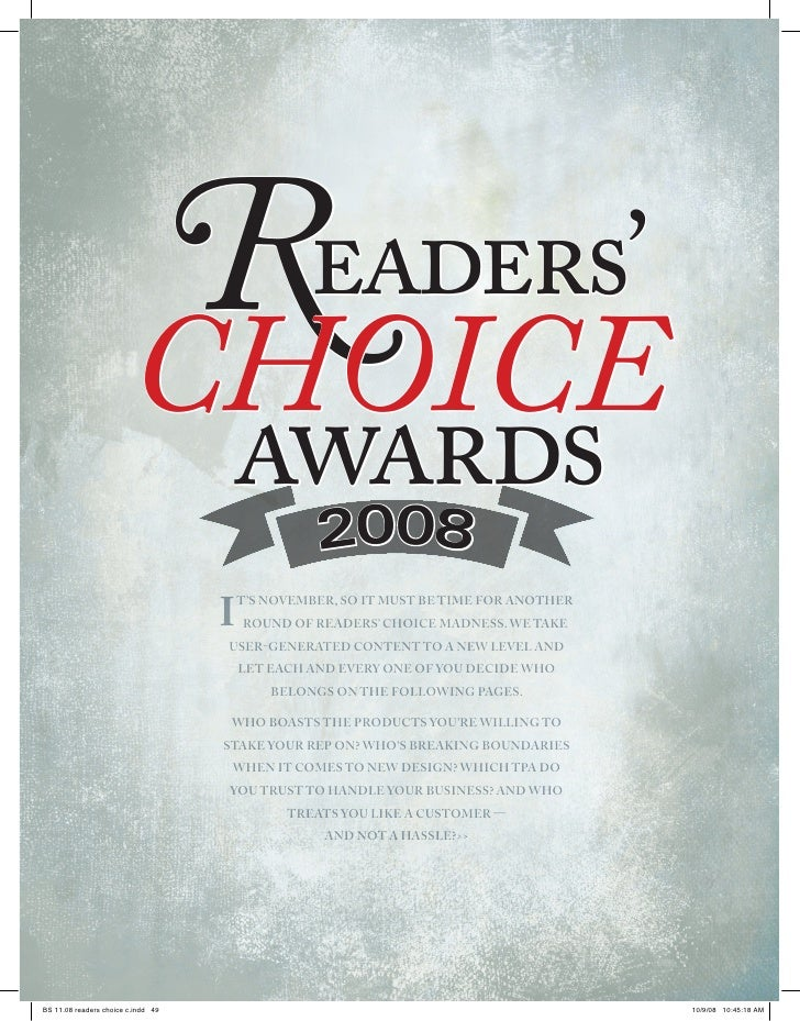 Readers' choice awards     R            eaders' choice   awards     008       2 I   t's November, so It must be tIme for a...