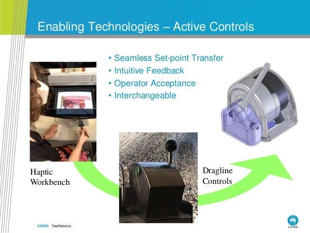 CSIRO. TeleRobotics Enabling Technologies – Active Controls Dragline Controls Haptic Workbench • Seamless Set-point Transf...