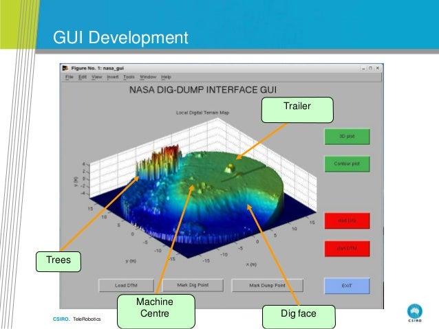 CSIRO. TeleRobotics GUI Development Trees Machine Centre Trailer Dig face