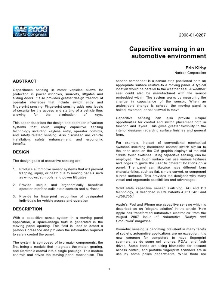 2008-01-0267                                                                           Capacitive sensing in an           ...