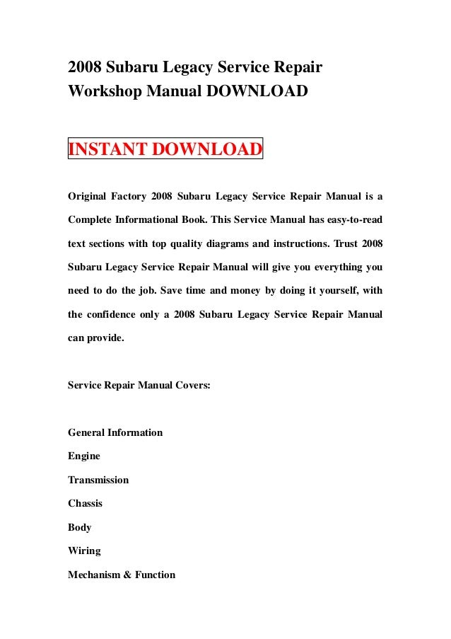 2008 subaru legacy service repair workshop manual download rh slideshare net 2008 subaru impreza workshop manual 2008 subaru impreza workshop manual