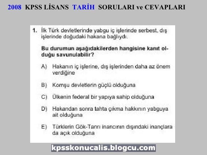 2008   KPSS LİSANS  TARİH   SORULARI ve CEVAPLARI
