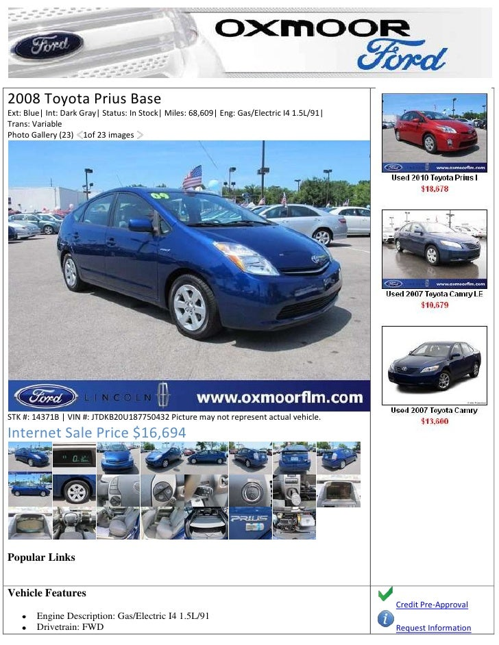 14371b 2008 toyota prius louisville ky used toyota How Does Drivetrain Work FX2 2008 toyota prius baseext blue int dark gray status in stock