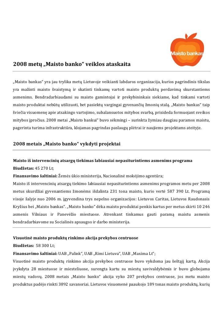"""2008metų""""Maistobanko""""veiklosataskaita                                                 ..."""