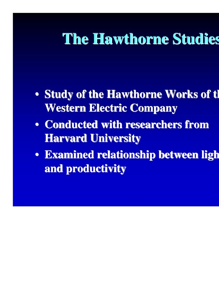 impact the hawthorne studies had on the study of organizational behavior There is a field of study called organizational behavior by the hawthorne studies the social pressure from peers took over and had more impact on worker.