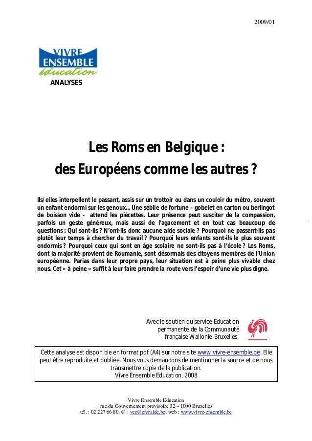 2009/01 Vivre Ensemble Education rue du Gouvernement provisoire 32 – 1000 Bruxelles tél. : 02 227 66 80. @ : vee@entraide....