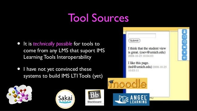 Technical Steps • User selects external content from within the LMS (or other system supporting groups of people) • LMS co...