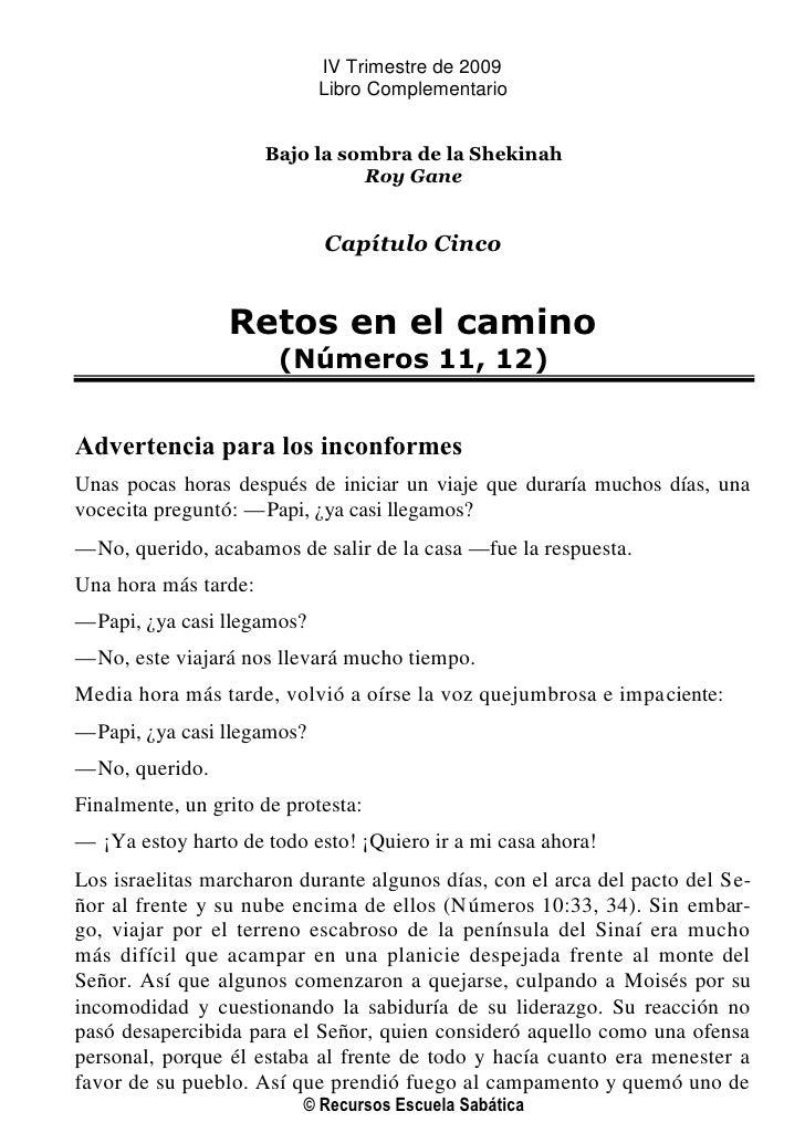 IV Trimestre de 2009                             Libro Complementario                         Bajo la sombra de la Shekina...