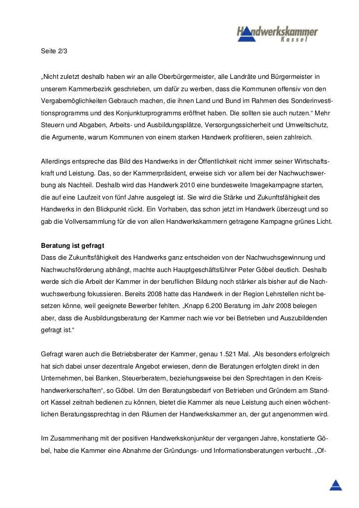 """Seite 2/3""""Nicht zuletzt deshalb haben wir an alle Oberbürgermeister, alle Landräte und Bürgermeister inunserem Kammerbezir..."""