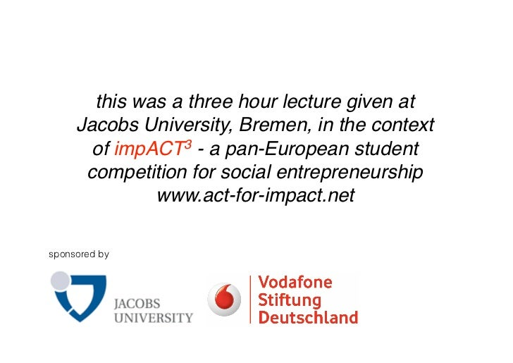 this was a three hour lecture given at      Jacobs University, Bremen, in the context        of impACT3 - a pan-European s...