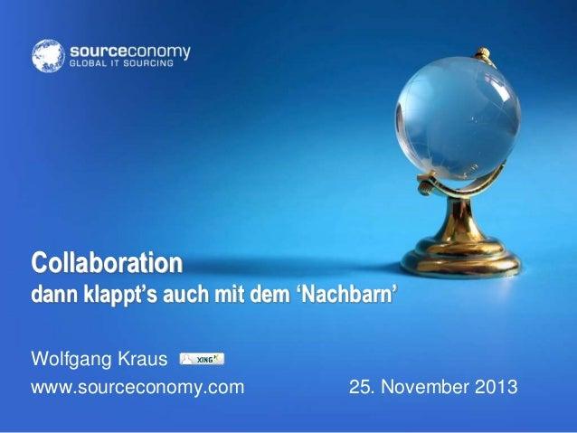 Collaboration dann klappt's auch mit dem 'Nachbarn' Wolfgang Kraus www.sourceconomy.com  25. November 2013