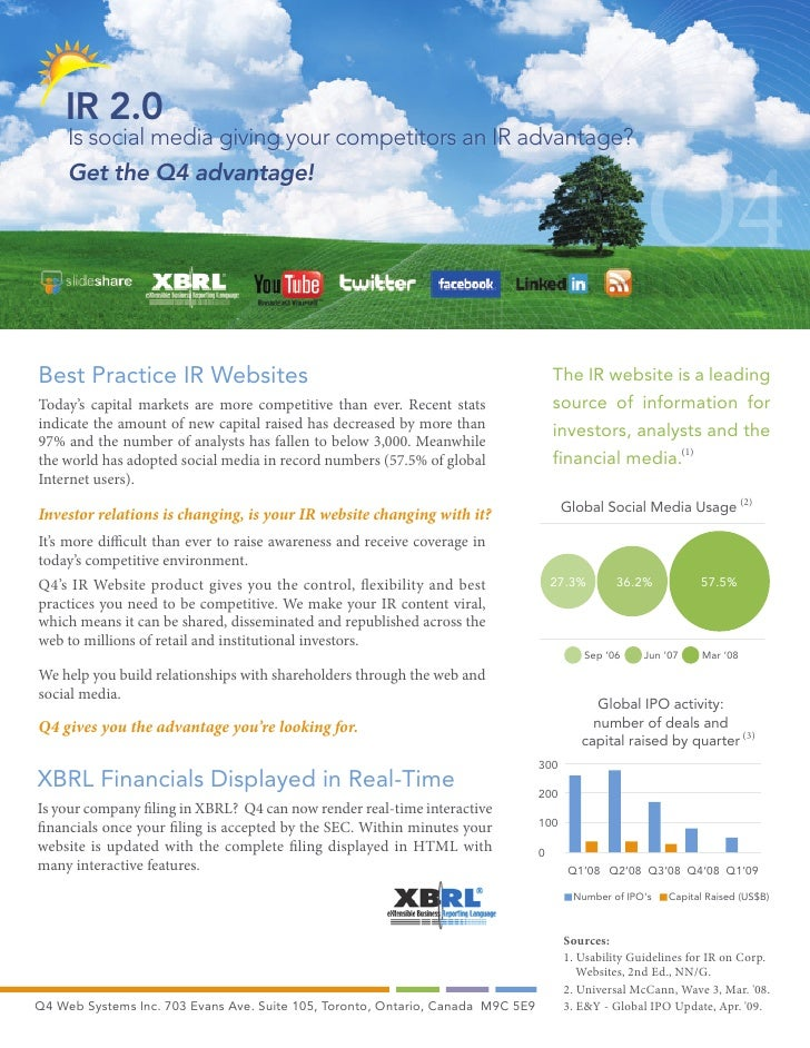IR 2.0      Is social media giving your competitors an IR advantage?      Get the Q4 advantage!     Best Practice IR Websi...