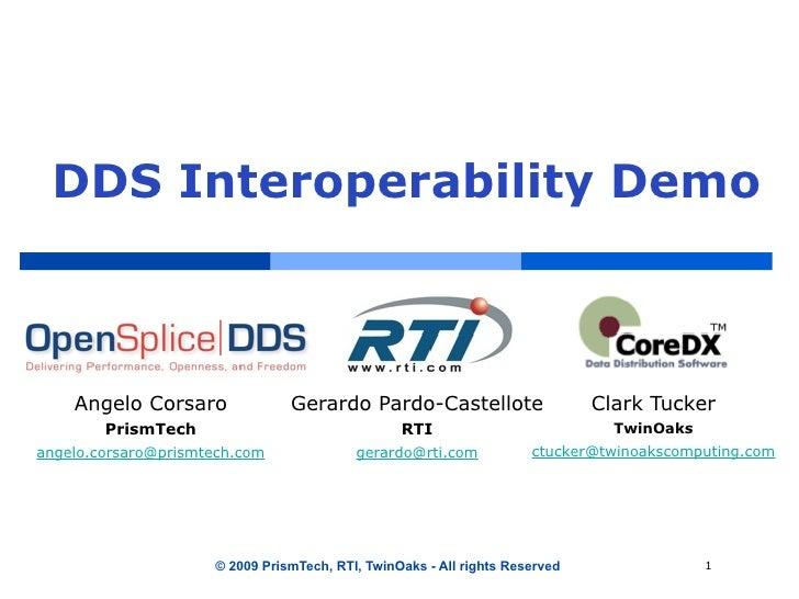 DDS Interoperability Demo        Angelo Corsaro              Gerardo Pardo-Castellote                     Clark Tucker    ...