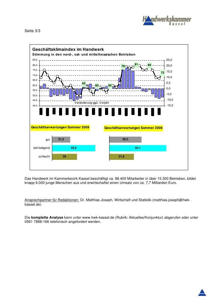 Seite 3/3    Geschäftsklimaindex im Handwerk    Stimmung in den nord-, ost- und mittelhessischen Betrieben    85,0        ...