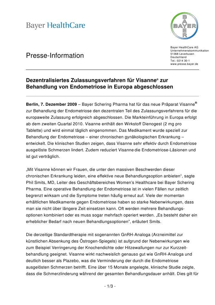 Bayer HealthCare AG                                                                          Unternehmenskommunikation    ...