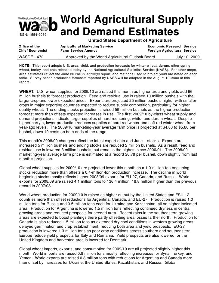 World Agricultural Supply ISSN: 1554-9089          and Demand Estimates                                            United ...