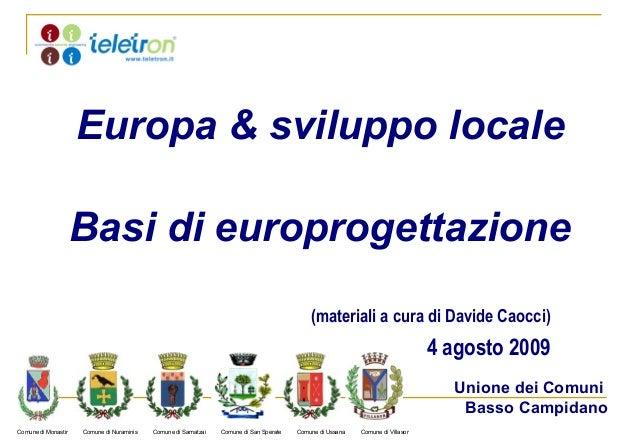 Europa & sviluppo locale                     Basi di europrogettazione                                                    ...