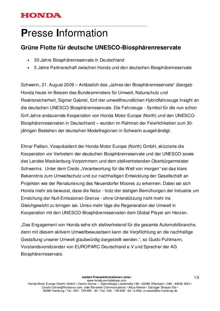 Presse InformationGrüne Flotte für deutsche UNESCO-Biosphärenreservate   •   30 Jahre Biosphärenreservate in Deutschland  ...