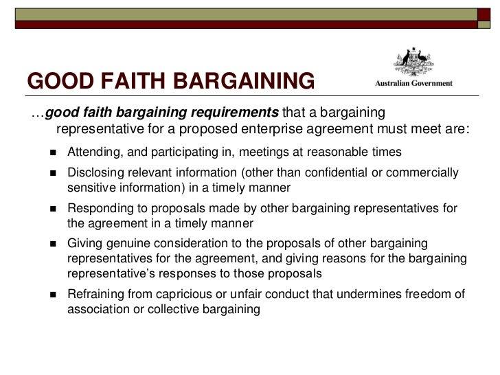 2009 Fair Work Education Seminar – Good Faith Agreement