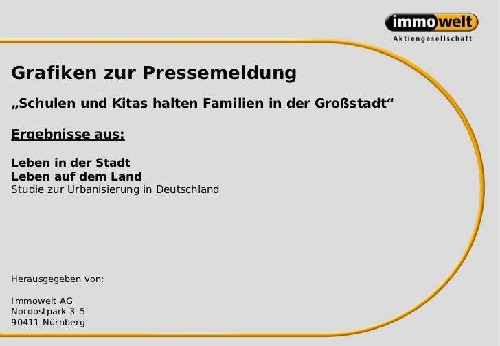 """Grafiken zur Pressemeldung""""Schulen und Kitas halten Familien in der Großstadt""""Ergebnisse aus:Leben in der StadtLeben auf d..."""