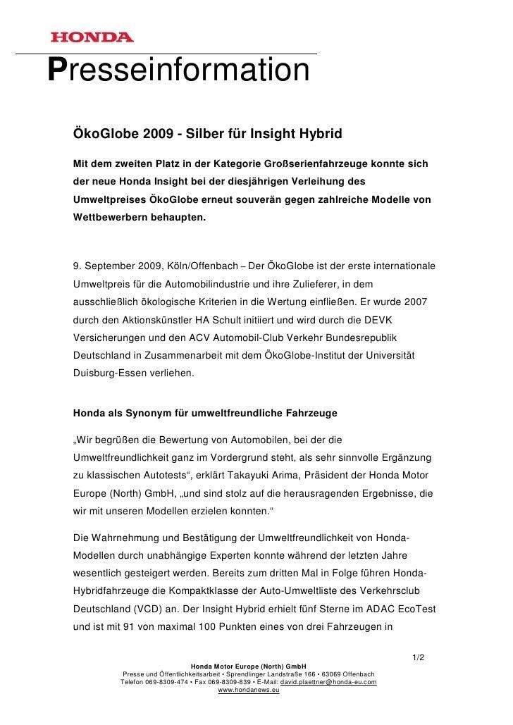 Presseinformation ÖkoGlobe 2009 - Silber für Insight Hybrid Mit dem zweiten Platz in der Kategorie Großserienfahrzeuge kon...