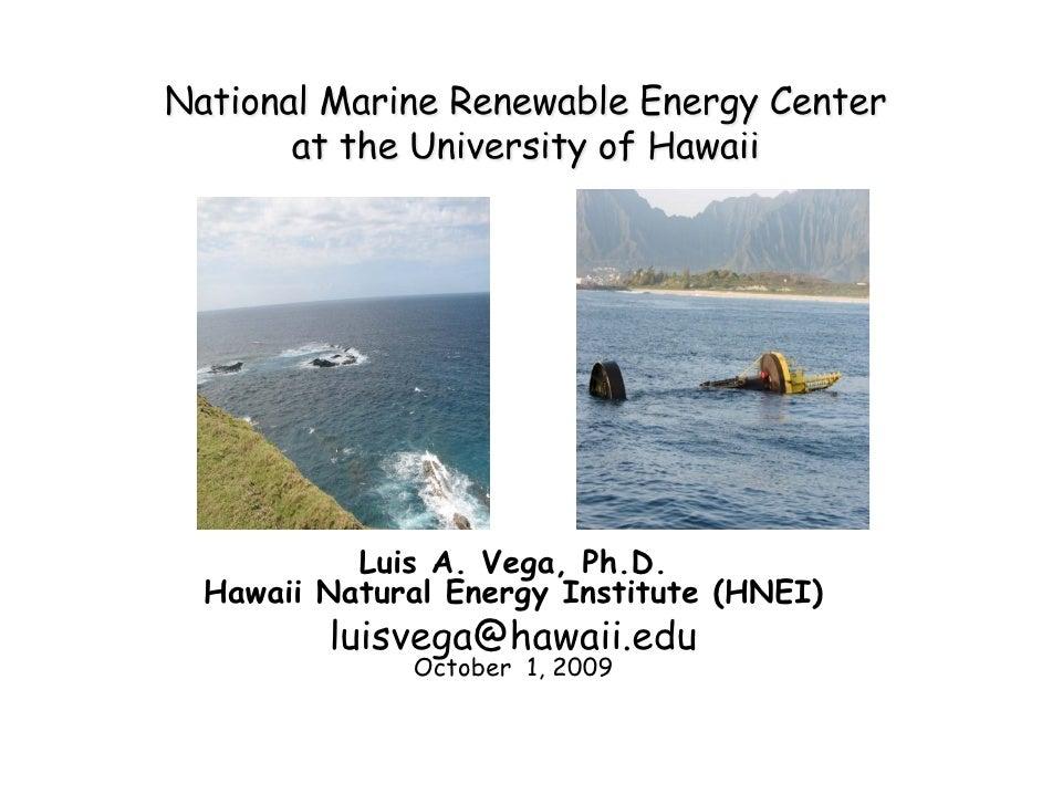Luis A. Vega, Ph.D. Hawaii Natural Energy Institute (HNEI)        luisvega@hawaii.edu             October 1, 2009