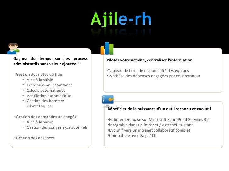 Demo Ajile-RH la solution de gestion des notes de frais et demandes de congés Slide 2