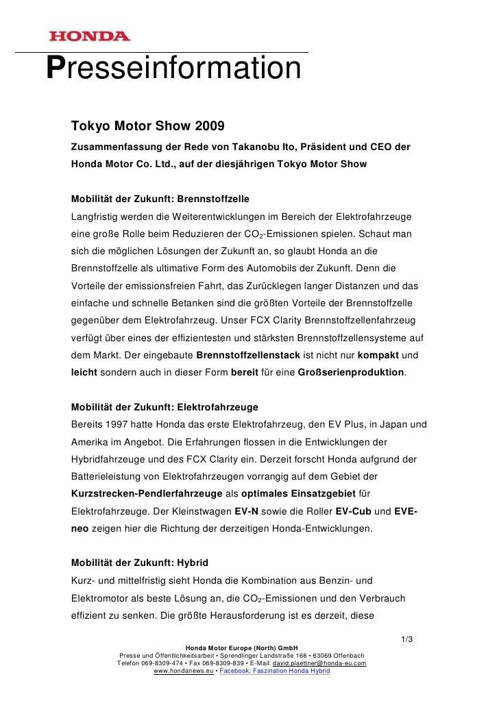 Presseinformation Tokyo Motor Show 2009 Zusammenfassung der Rede von Takanobu Ito, Präsident und CEO der Honda Motor Co. L...
