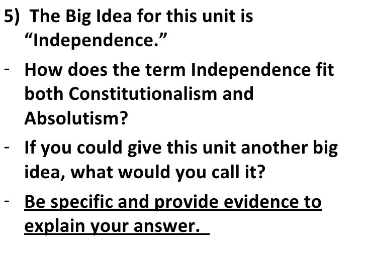 2009 10 Constitutionalism & Absolutism Essential Questions