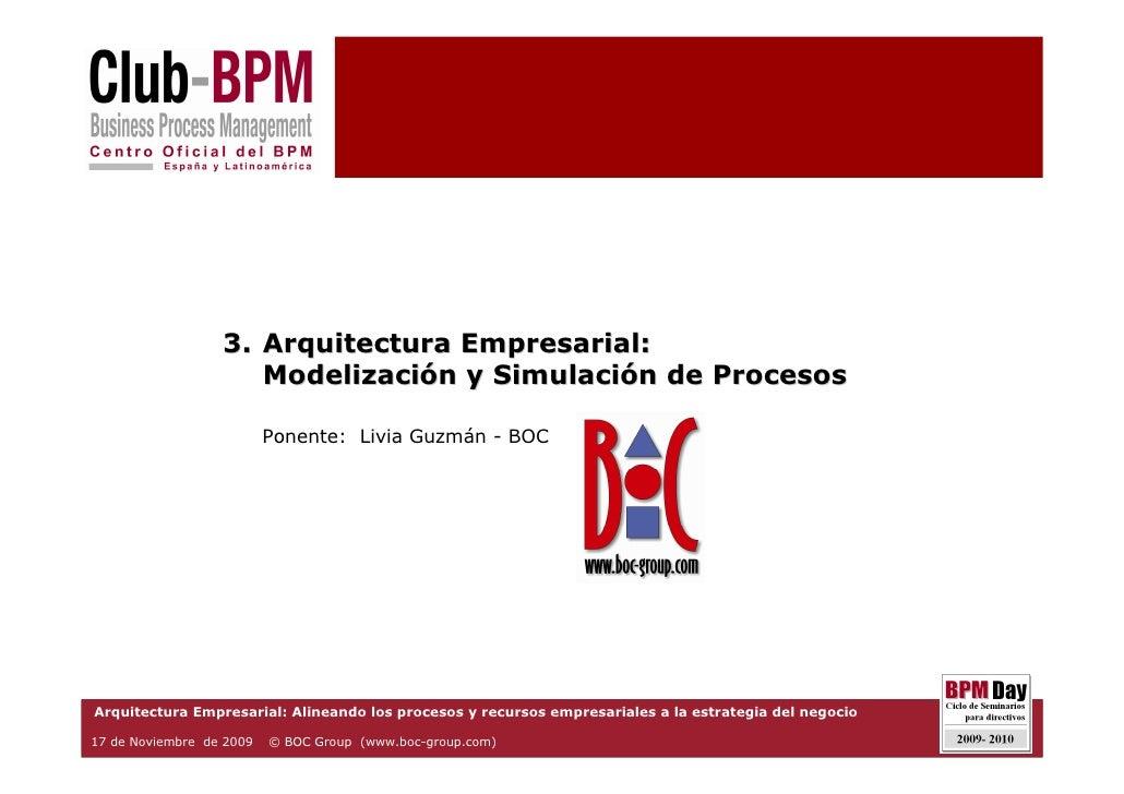 3. Arquitectura Empresarial:                      Modelización y Simulación de Procesos                            Ponente...