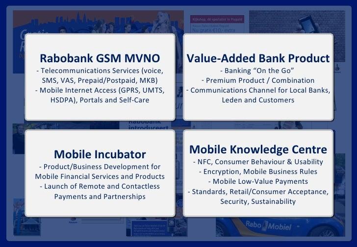 Rabobank GSM MVNO - Telecommunications Services (voice, SMS, VAS, Prepaid/Postpaid, MKB) - Mobile Internet Access (GPRS, U...