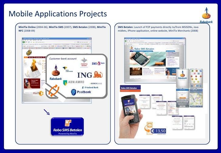 Mobile Applications Projects MiniTix Online  (2004-06),  MiniTix SMS  (2007),  SMS Betalen  (2008),  MiniTix NFC  (2008-09...