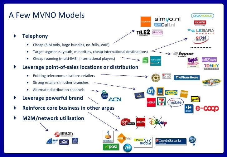 A Few MVNO Models <ul><li>Telephony </li></ul><ul><ul><li>Cheap (SIM only, large bundles, no-frills, VoIP) </li></ul></ul>...