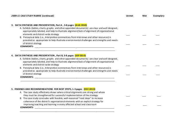 case study report rubric Case study grading rubric • did not waste space summarizing information already found in the case 20% shows little rubric: case study.