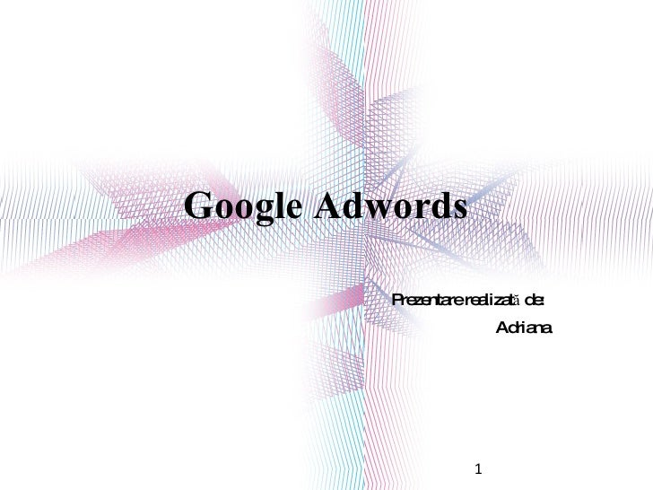 Google Adwords Prezentare realizată de:  Adriana 1