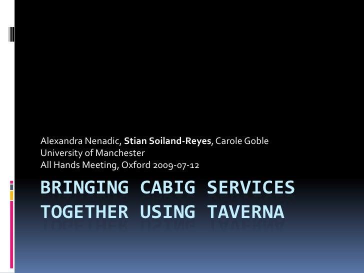 Bringing caBig services together using Taverna<br />Alexandra Nenadic, Stian Soiland-Reyes, Carole Goble<br />University o...