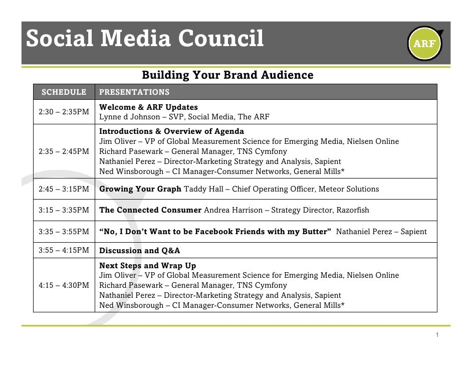 Social Media Council                             Building Your Brand Audience  SCHEDULE        PRESENTATIONS              ...