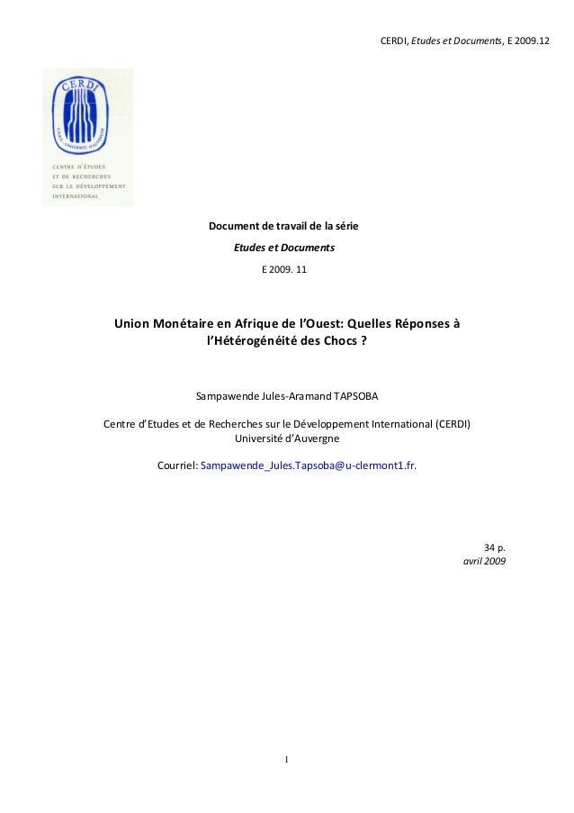 CERDI, Etudes et Documents, E 2009.12                     Document de travail de la série                          Etudes ...