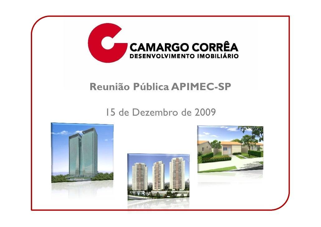 Reunião Pública APIMEC-SP    15 de Dezembro de 2009