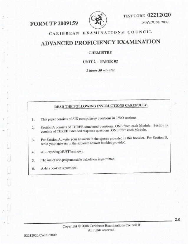 Chemistry CAPE syllabus