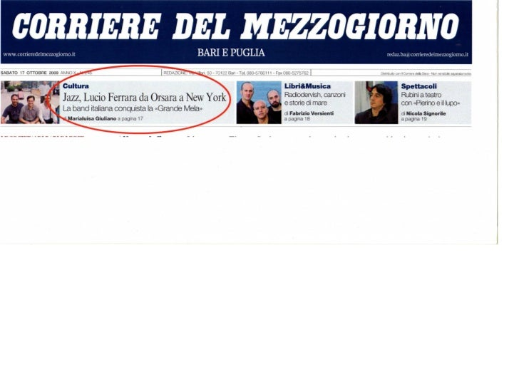 2009   17 ottobre - corriere puglia - intestaz