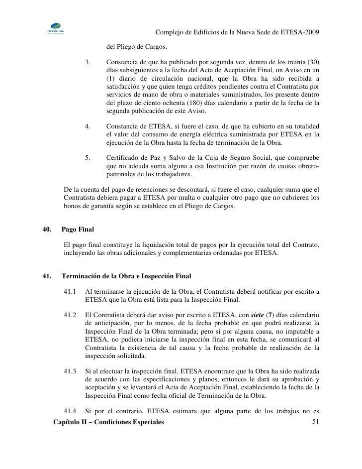 Complejo de Edificios de la Nueva Sede de ETESA-2009                         del Pliego de Cargos.                  3.    ...