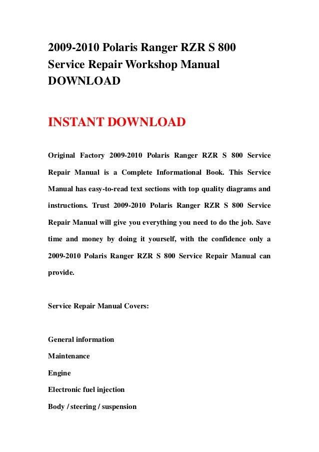 2009 2010 polaris ranger rzr s 800 service repair workshop manual dow rh slideshare net 2008 polaris rzr 800 service manual pdf 2008 rzr service manual