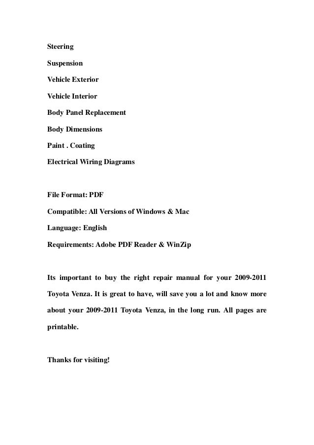 2009 2011 toyota venza service repair manual download 2009 2010 2011 rh slideshare net Toyota Factory Repair Manuals Auto Toyota ManualsOnline