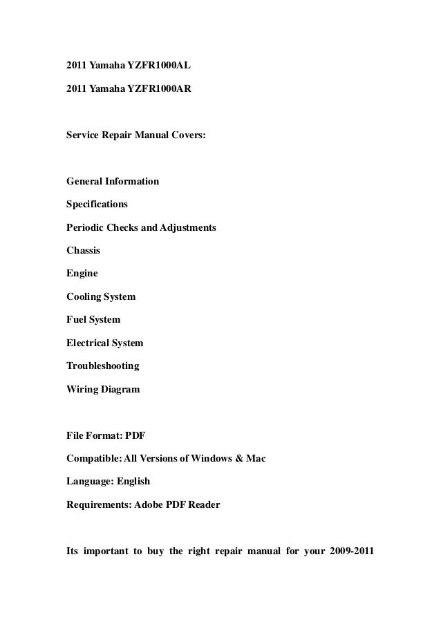 2009 2011 yamaha yzfr1 service repair workshop manual. Black Bedroom Furniture Sets. Home Design Ideas