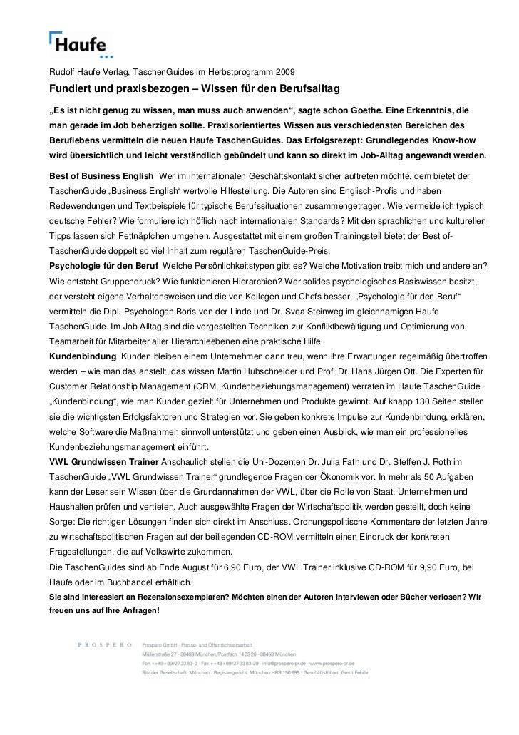 """Rudolf Haufe Verlag, TaschenGuides im Herbstprogramm 2009Fundiert und praxisbezogen – Wissen für den Berufsalltag""""Es ist n..."""