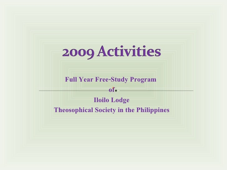 Full Year Free-Study Program  of Iloilo Lodge Theosophical Society in the Philippines